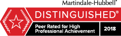 Martindale-Hubbel Distinguished 2018 Peer Rated for High Professional Achievement